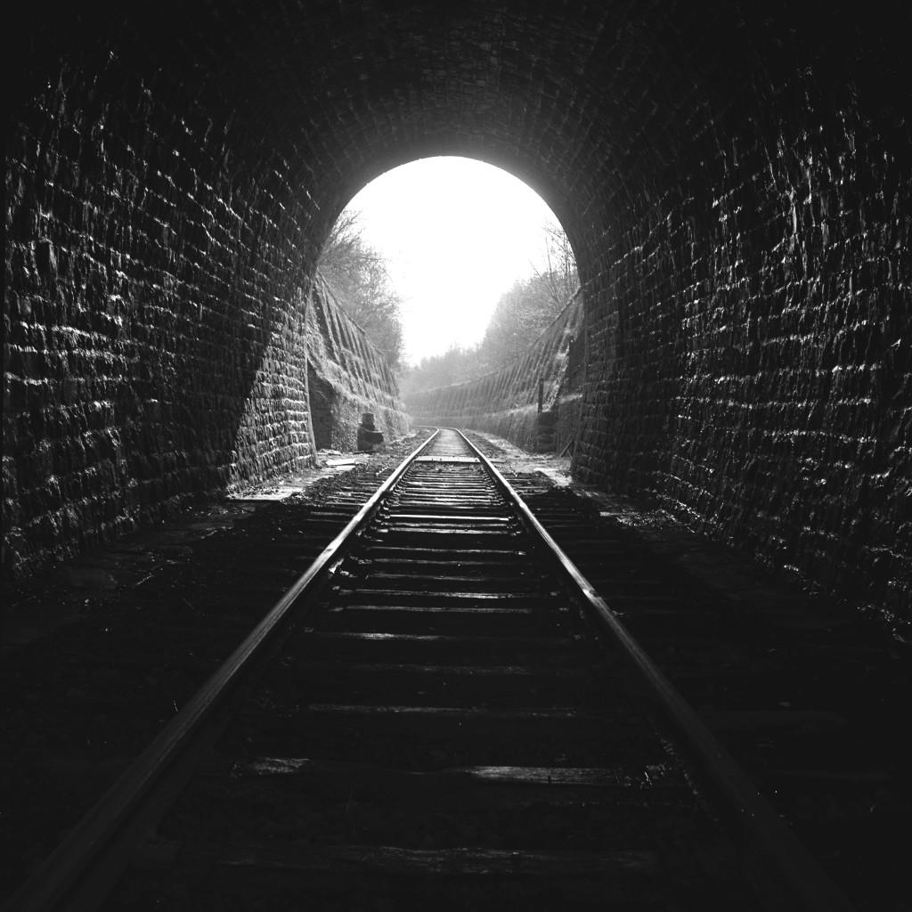 Blick aus dem Tunnel in Richtung Süden: (Foto Paul Aschman 1961, © Phototèque Ville de Luxembourg)